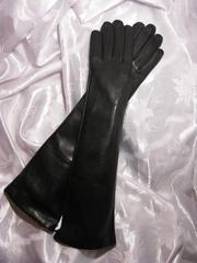Женские кожаные перчатки на шелковой подкладке Длинные