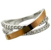 Женское серебряное кольцо с золотыми накладками